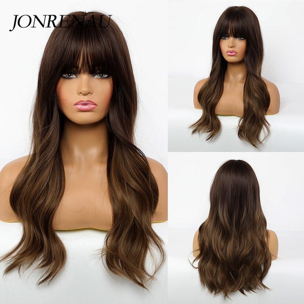 Jonrenau sintético marrom escuro todos os dias perucas com franja onda natural cosplay perucas para branco/preto feminino festa wear