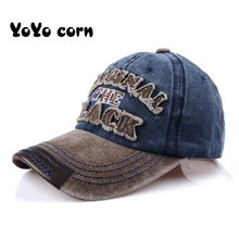 YOYOCORN Hot Retro Washed Baseball Cap Fitted Snapback Hat For Men Bone Women Gorras Casual Casquette Letter Black