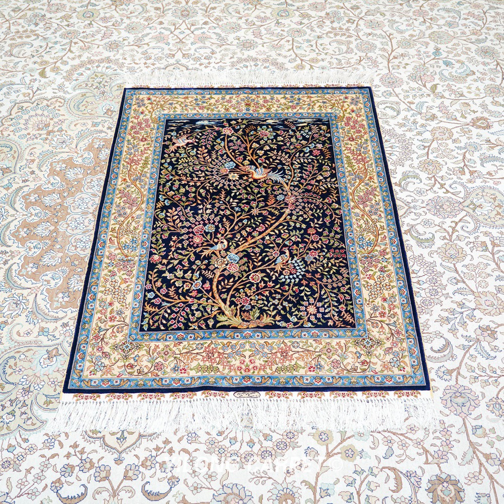 yilong tapis oriental bleu fonce 3x4 pouces arbre de vie tapis persan tj174a