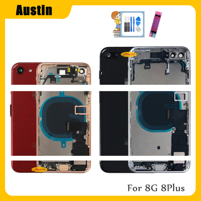 Full Housing for Iphone 8 8G 8Plus Battery Back Cover Door Rear Case Middle Frame Chassis + Back Glass with Flex Cable Parts 8G 1