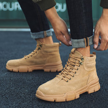 남성 운동화 캐주얼 신발 플록 스니커즈 남성 트레이너 Masculino Zapatillas Hombre 신발 공구 신발 High Top Martin Boots