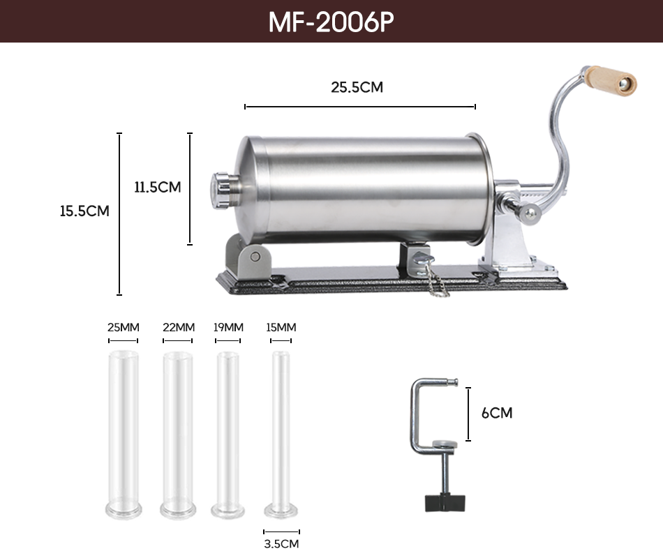 6 lbs / 3kg Stainless Steel Sausage Filling Machine