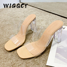 Summer Shoes Slippers Toe-Sandals Heels Square Wedding-Jelly High-Pumps Clear Transparent