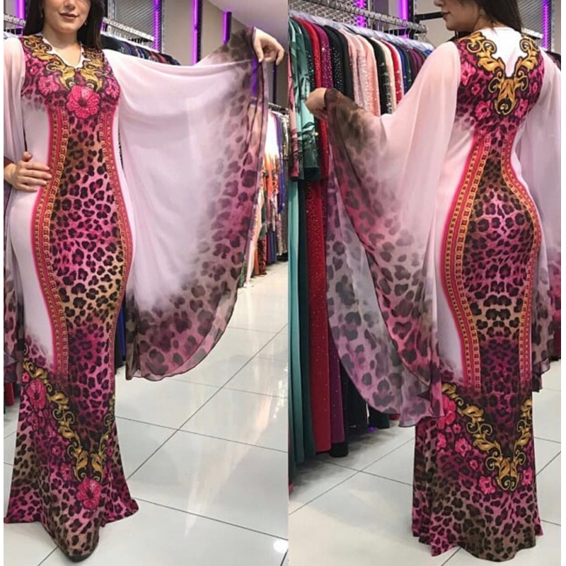 MD Boubou Africain Femme 2020 African Print Dashiki Clothes Plus Size Women Dress Batwing Sleeve Ankara Dresses Girl Party Dress