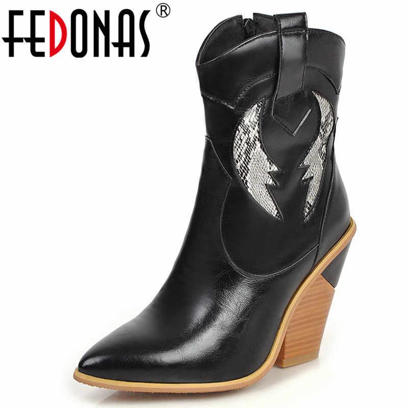 FEDONAS Yeni Patchwork Sentetik Deri Sıcak kısa çizmeler Yan Fermuar Batı Botları parti ayakkabıları Kadın Moda Kadın yarım çizmeler
