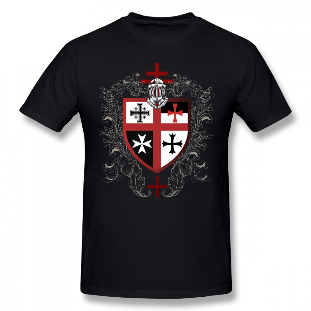 Templar T-Shirt Knights Templar Cross Shield T Shirt Funny Tee Shirt Mens Cotton Graphic Casual Short Sleeve Tshirt