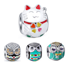 Fit Authentic Pandora Bracelet Silver 925 Original New Cute Animal Owl Cat Charm Beads Sterling-Silver-Jewelry For Women Gifts цена