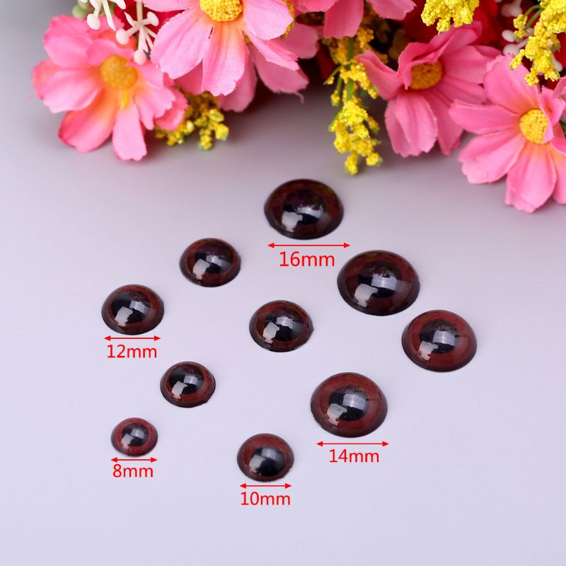 240pcs 8mm 10mm 12mm 14mm 16mm Plastic Brown Puppet Doll Animal Eyes Scrapbooking Craft For Children Kids Toys DIY