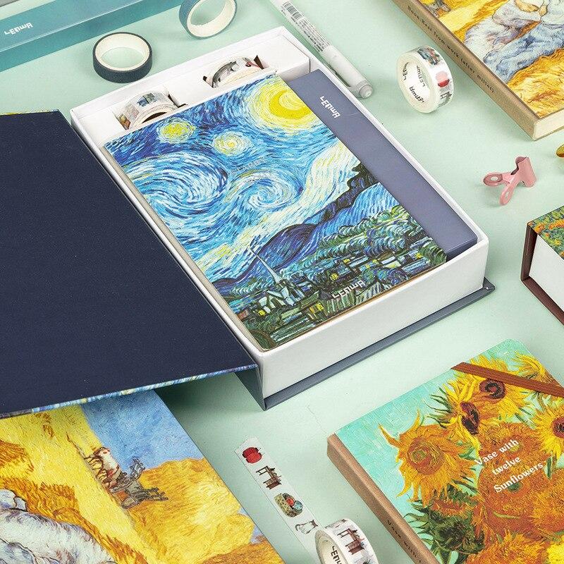 Handbook A5 Van Gogh Bullet Journal Diary Set Travel Notebook Planner with DIY Sticker Washi Tape Beautiful Agenda