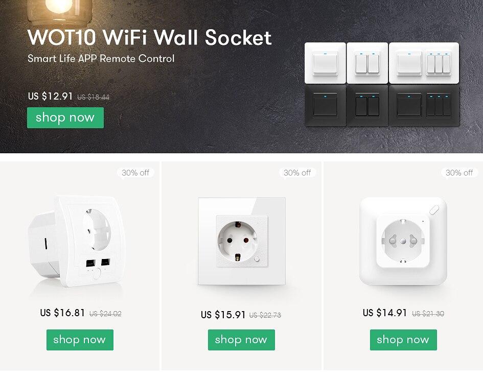 OWSOO Prise Intelligente,Tuya Smart Life App Prise Intelligente,16A WiFi Prise Intelligente,Type UE