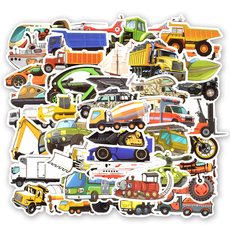 <font><b>50</b></font> PCS Transportation Cartoon Sticker Car Ship Aircraft Construction vehicle Sticker for DIY Kids Toy Room Learning Traffic Tool image