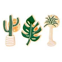 TTLIFE Cute Cartoon Creative Green Leaf Cactus Flower Wild Brooch Enamel Pin Brooch Women Children Gift Jacket Pin Badge cute brooch green enamel cactus brooches