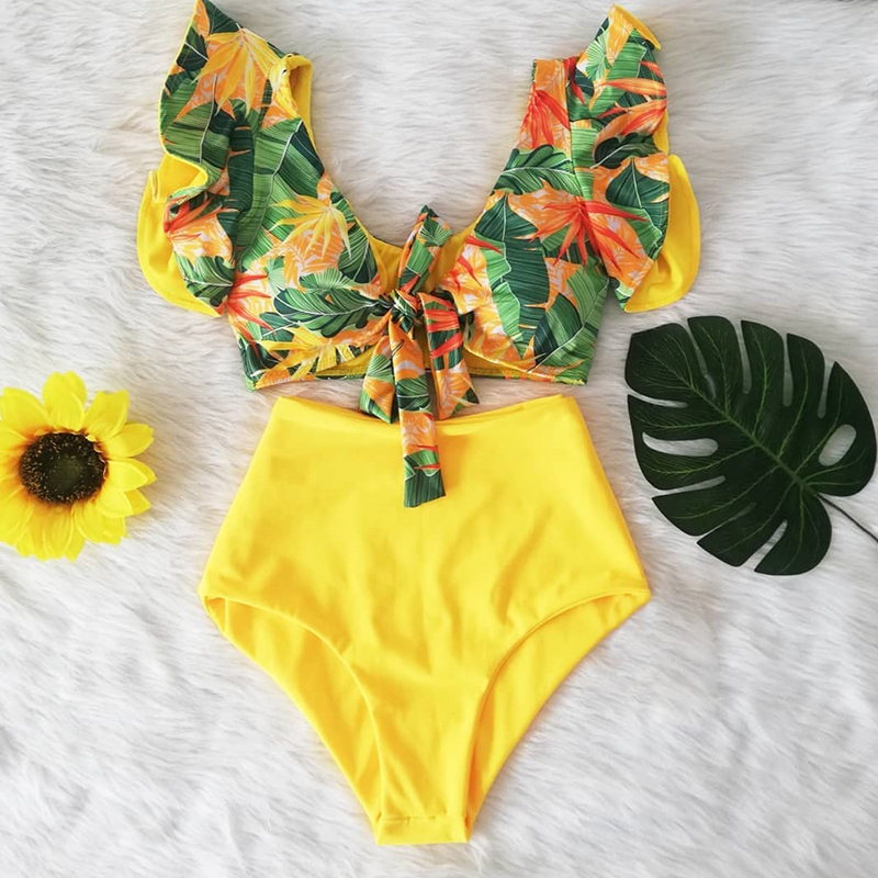 Bikini Floral con volantes y dobladillo para mujer, traje de baño Floral de dos piezas de cintura alta con cuello de pico, ropa de baño para playa 2020