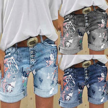 Ladies jean 2021 high-waisted embroidered shorts plus size casual summer straight cut casual chic pants jean shorts for ladies