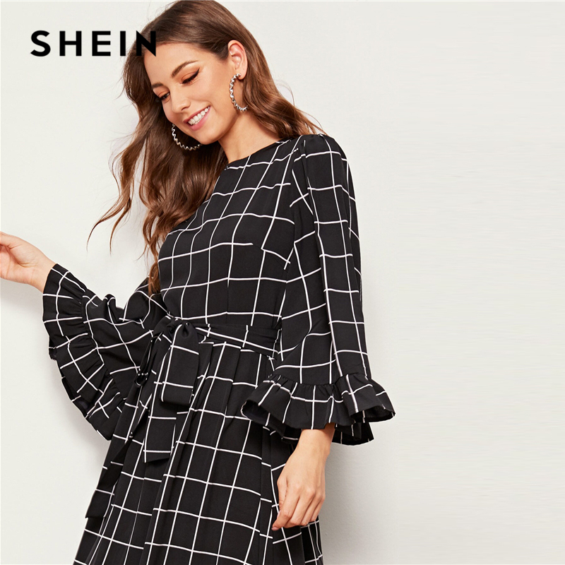 SHEIN Abaya Bell Sleeve Flounce Hem Grid Belted Maxi Dress Women Autumn Zip Back Round Neck Elegant A Line Plaid Modest Dresses 10