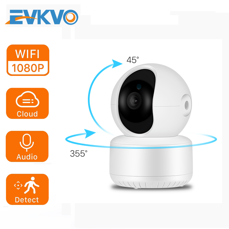 EVKVO 1080P Wifi IP Camera Cloud P2P Audio CCTV Security Camera Wireless Night Vision Alarm 2MP Mini Camera Baby Monitor ICSee