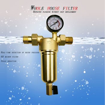 Pre-filter Water Filters Front Purifier 0.5 0.75 Inch Pure Copper Body 40 Micron Stainless Mesh Backwash Sediment 1 Inch Pipe ship from germany 4l pure water distiller purifier dental and medical pure water maker stainless steel body