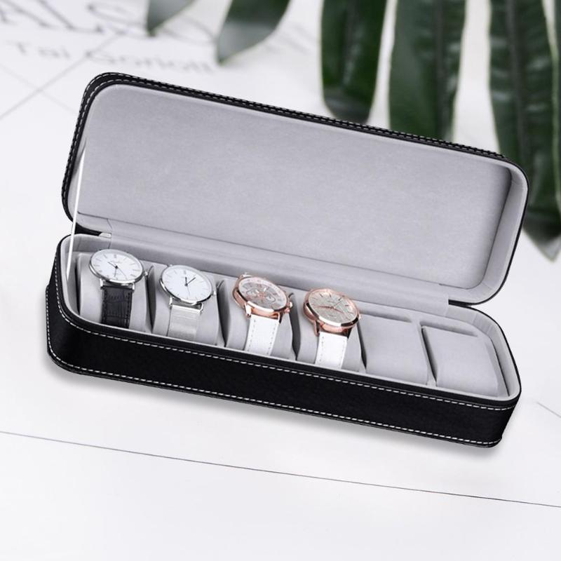 6 Slots Black Gray PU Leather Pratical Watch Storage Display Holder Box Case Jewelry Bracelet Necklace Storage Case Organizer