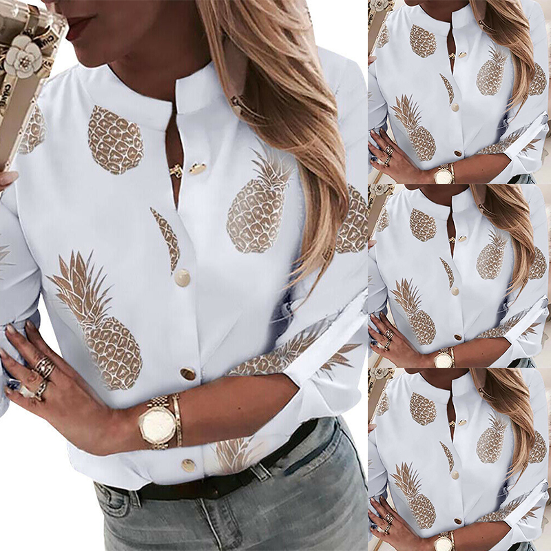 New Ladies Casual Button Down Blouse Shirt Spring Womens Pineapple Printed Shirt Autumn Female Long Sleeve Stand Collar Blouse in Blouses amp Shirts from Women 39 s Clothing