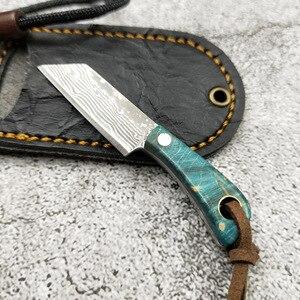 Image 3 - Mini faca de lâmina fixa de aço de damasco, p, cabo de madeira, de bolso, edc, fivela, chave, ferramenta manual, com faca, dropship