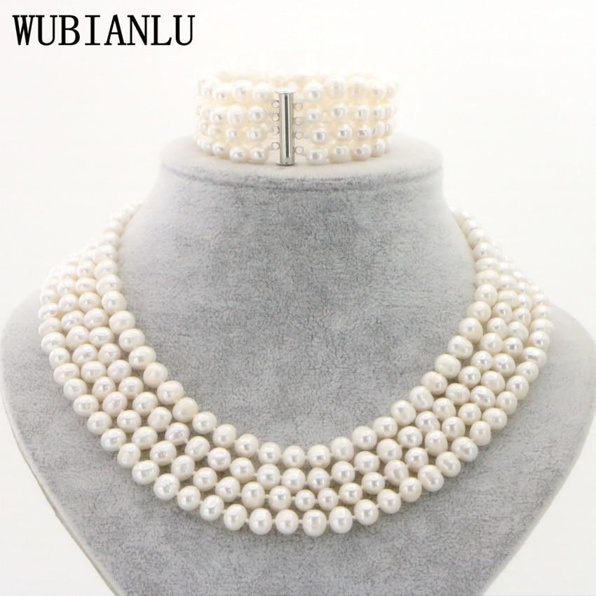 WUBIANLU 5 Styles 4 Row 7-8mm Freshwater Pearl Jewelry Set In Women Bracelet Necklace Costume Bridal Jewelry Set Pearl Beads