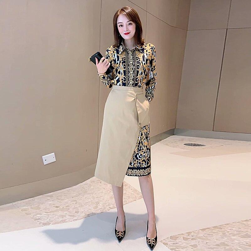 Autumn New Fashion High Quality Party Work Print Shirt Tops Casual Print Stitching Half Skirt Vintage Elegant Chic Women'S Sets
