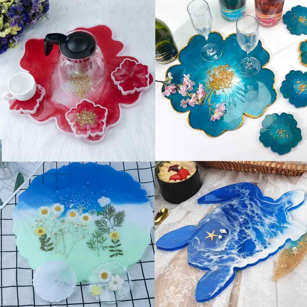 Mould Tray Mat Coaster Silicone Mold Tool DIY Flower Resin Epoxy Casting Craft