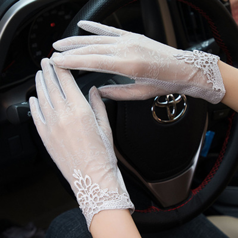 Sexy Lace Flower Sunscreen Gloves Female Summer Ice Silk Thin Anti-UV Driving Non-slip Full Finger Touch Screen Gloves 02E
