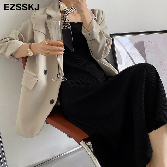 chic knit French V-neck A-line maix dress women female 2021 summer elegant  long dress robe dress 4