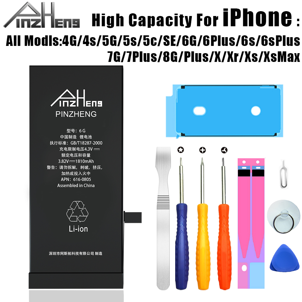PINZHENG Phone <font><b>Battery</b></font> For <font><b>iPhone</b></font> <font><b>6S</b></font> 6 7 8 Plus X <font><b>High</b></font> <font><b>Capacity</b></font> Replacement Bateria For <font><b>iPhone</b></font> 5 5S 5C SE 4S XR XS Max Batterie image