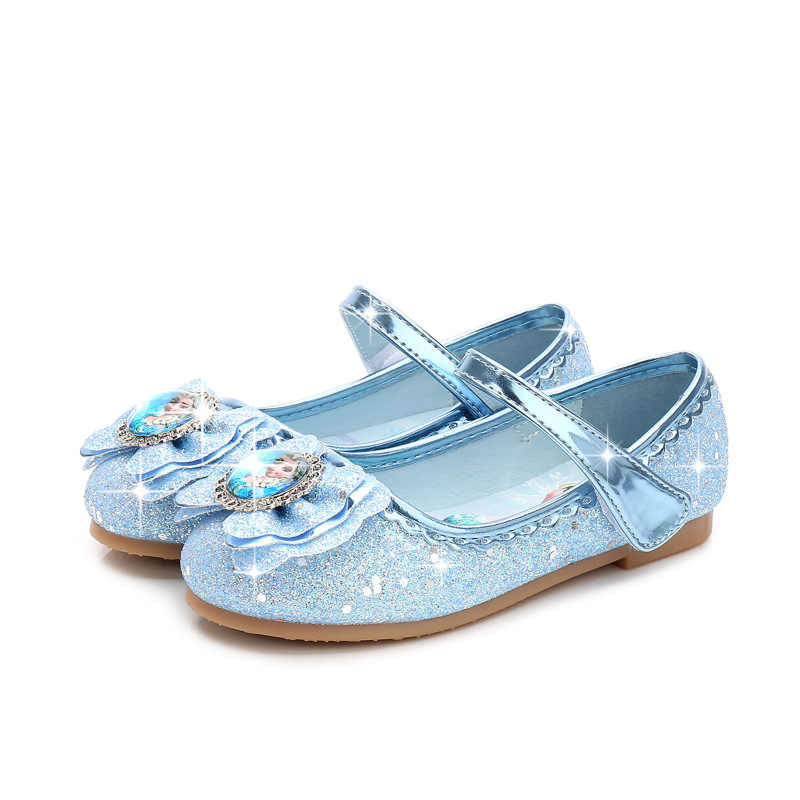 Обувь принцессы с украшением в виде кристаллов для девочек; Новинка 2020 года; обувь «Холодное сердце 2»; обувь «Эльза»; вечерние и свадебные туфли для девочек с золотыми блестками; модельные туфли для девочек