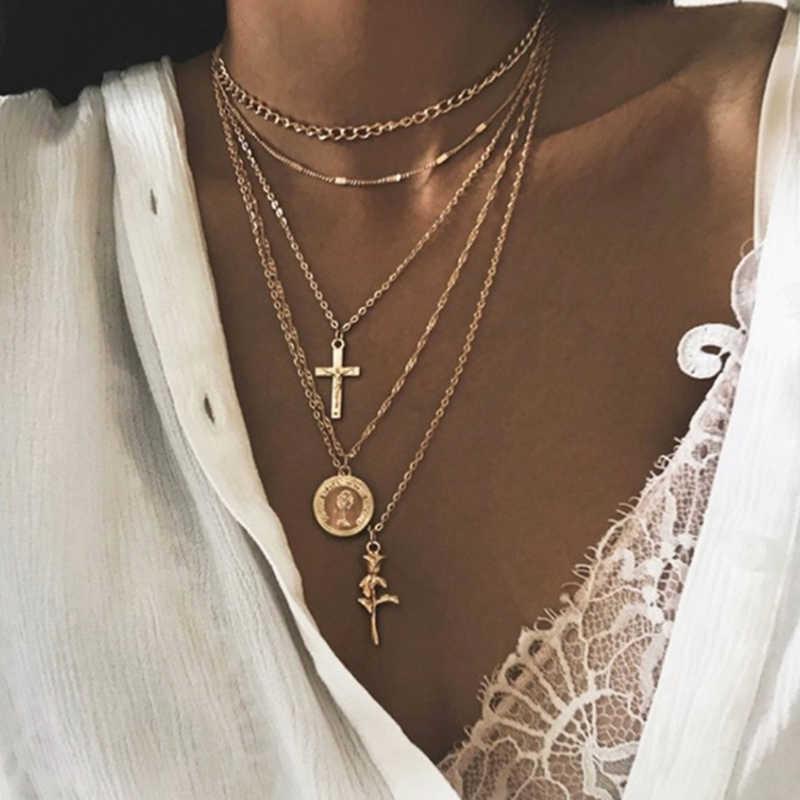 2019 ใหม่แฟชั่นสี Multilayer Chains สร้อยคอเรขาคณิตสร้อยคอจี้สำหรับผู้หญิง Bijoux