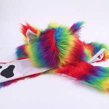 NEW Hat Brand Women Christmas Lovely Color Fur Cap Stage Nightclub Dancer Panda Ear Scarf Hat high quality T716