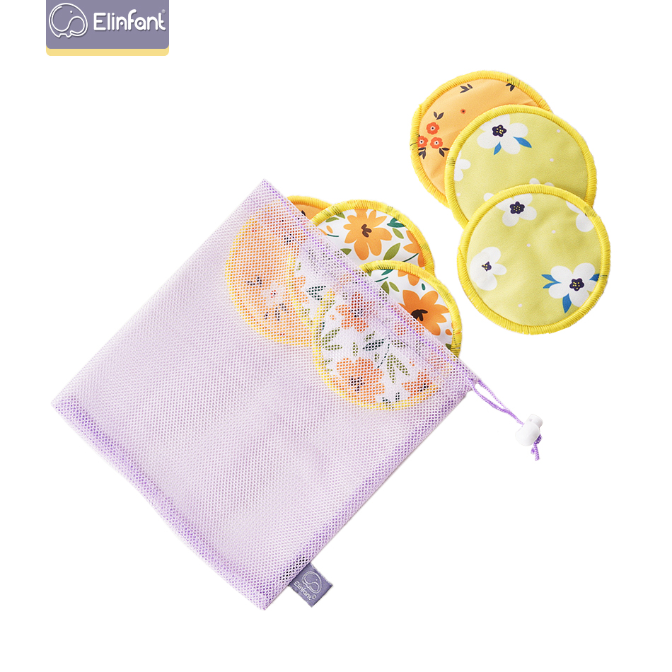 Elinfant 6pc Bamboo Breast Pad Nursing Pads For Mum Waterproof Washable Feeding Pad Bamboo Reusable Breast Pads With Laundry Bag