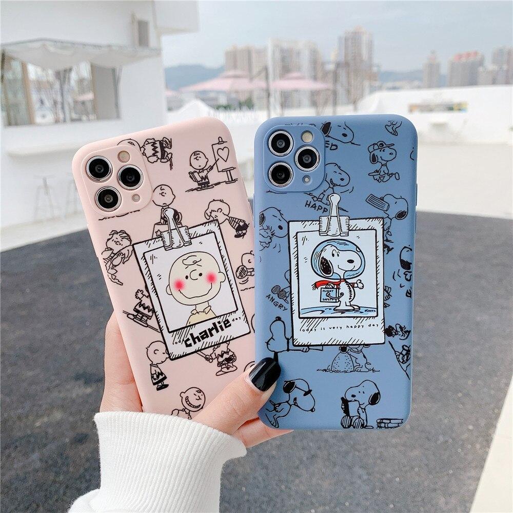 Cute Cartoon Charlie Brown Peanut Dog Astronaut Phone Case For Iphone 7 8 Plus Se2 12 Mini 11 X XS Max XR Soft TPU Cover Funda