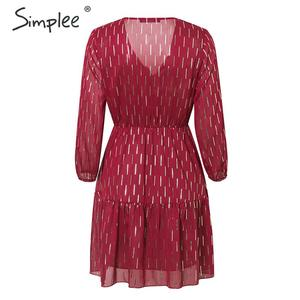 Image 5 - Simplee, vestido de mujer con cuello en v, volantes, estampado a rayas, cintura alta, linterna, vestido de verano, vacaciones, manga larga, vestido de fiesta de primavera