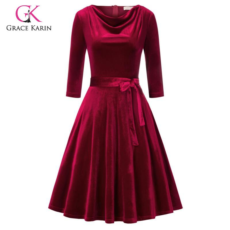 Grace Karin 2020 Autumn 3/4 Sleeve Flare A-Line Dress Women Velvet Pleated Swing Dress With Pockets And Belt Midi Party Dresses