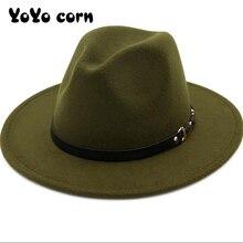 Hat Top-Hat Fedoras Jazz-Cap Felt Church Derby Wide-Brim Women Panama Wool for Artificial-Wool-Blend