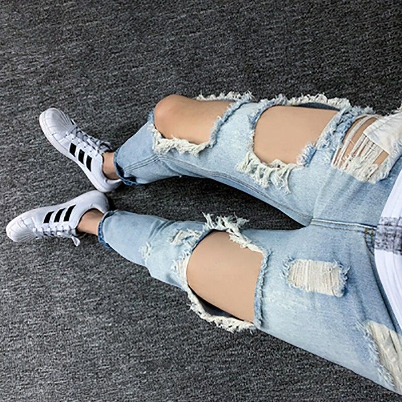 Summer big hole big size jeans male nine points jeans male trend Korean version scraped 9 points broken pants