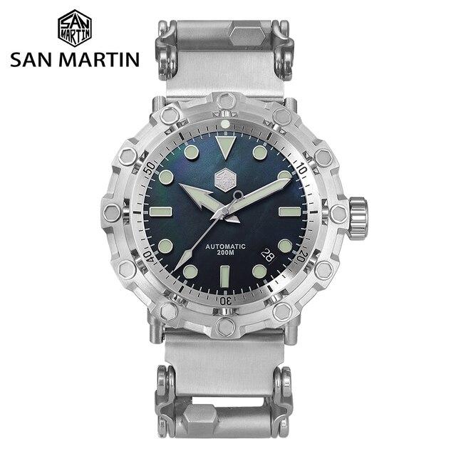 San Martin yeni UFO modelleme ahtapot orijinal Diver paslanmaz çelik erkek mekanik saat su geçirmez ışık Relojes