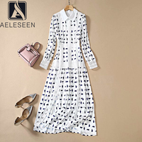 AELESEEN Runway Fashion White Dress 2020 Spring Summer Geometric Print Long Sleeve Shirt Dress Meah Patchwork Long Elegant Dress