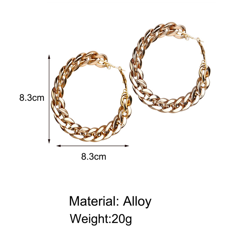 2020 New Design Vintage Chain Hoop Earrings For Women Big Gold Round Earring Brincos Jewelry Female Fashion Statement Gifts