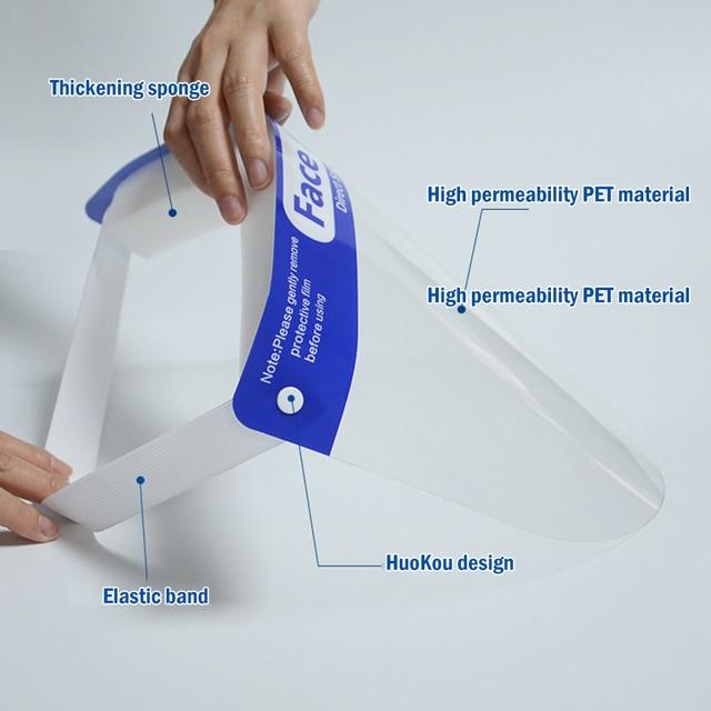 2/5/10pcs Protective Face Shield Reusable Full Face Protective Mask Splash-Proof eye safety Saliva Protection Clear Visor 3