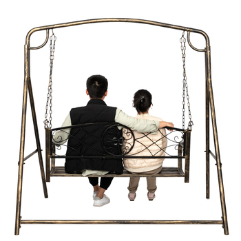 Fashion Iron Flat Tube Double Swing Chair Paint Brush Gold Worn Out Iron Art Swing Frame Home's Porch Patio Decor High Quality 1