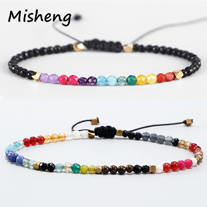 Misheng 12 Constellation Lucky Natural Stone Chakra Bracelet European and US Popular Brand Jewelry Friendship Bracelet Unisex in Strand Bracelets from Jewelry Accessories