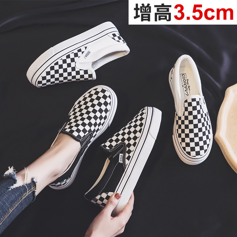 Canvas Women's Shoes 2021 Spring New Versatile One Foot Pedal Lattice Lazy Shoes Thick Bottom Muffin Shoes