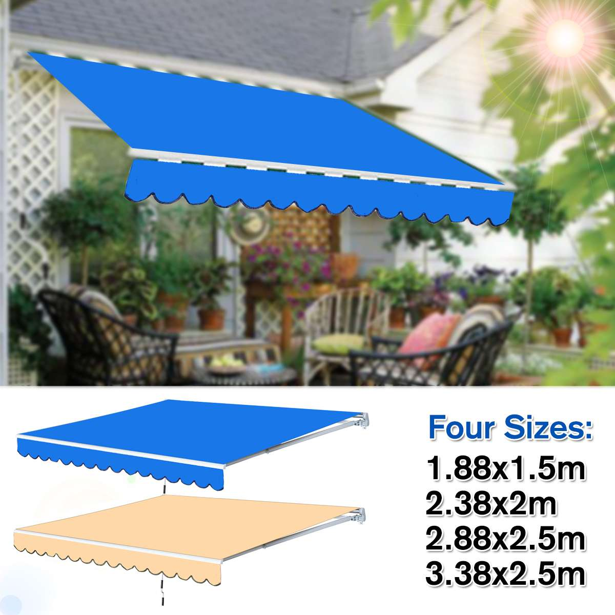 Waterproof Top Cover Canopy Replacement For Garden Patio Courtyard Outdoor Canopy Awning Sun Shade Shelter Fabric Cover Frill