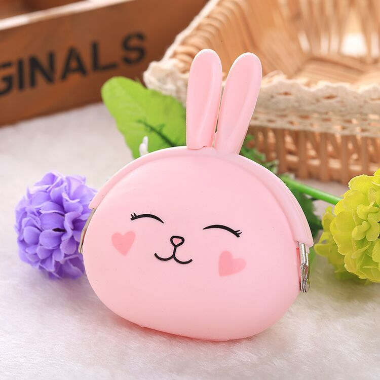 NEW Fashion Coin Purse Lovely Kawaii Cartoon Rabbit Pouch Women Girls Small Wallet Soft Silicone Bluetooth earphone Bag Gift #YT