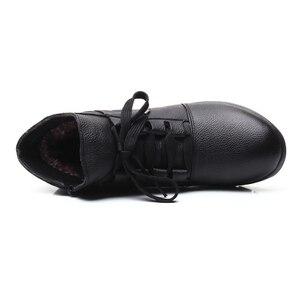 Image 5 - DONGNANFENG المرأة جلد طبيعي الإناث السيدات امرأة الأحذية الأحذية الدانتيل يصل أفخم الفراء الدافئة الشتاء الخريف الكاحل 35  41 GP KMM001