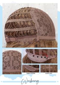 Image 5 - אלן איטון נשים אור חום בלונד בינוני אורך שכבות גלי סינטטי שיער פאות עם פוני פאת קוספליי חום סיבים עמידים
